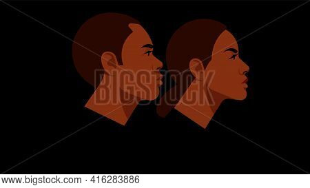 Portrait Of Couple - Young Woman And Man Are Looking In The Same Direction. Modern People Faces And
