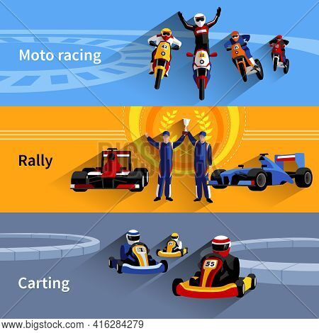 Racer Horizontal Banners Set With Moto Racing Rally And Carting Symbols Flat Isolated Vector Illustr