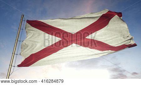 Alabama Us State Grunge Flag. Alabama Dirty Flag With Highly Detailed Fabric Texture. 3d Illustratio
