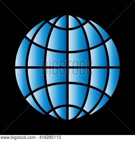 Planet Icon, Flat Colored Design, Blue Gradient Fill, Black Background