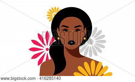 Portrait Of Beautiful Dark Skinned Women With Gigantic Flowers. Brunette, Long Hair, Ponytail. Femal