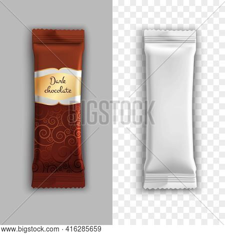 Product Packaging Realistic Design With Dark Chocolate For Example Isolated Vector Illustration