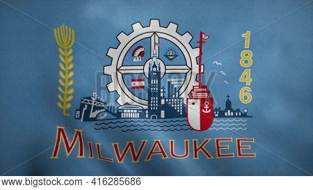 Milwaukee, Wisconsin Flag Waving In The Wind. 3d Illustration.