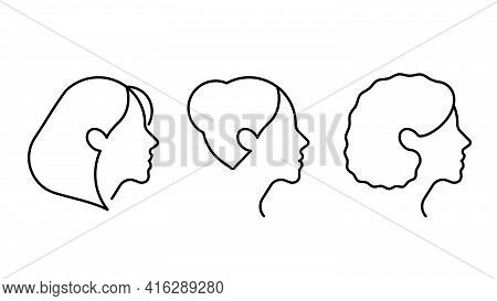 Simple Set Of Female Faces Vector Line Icon. Female User Profile Icon, Side View, Head, Hairstyles.