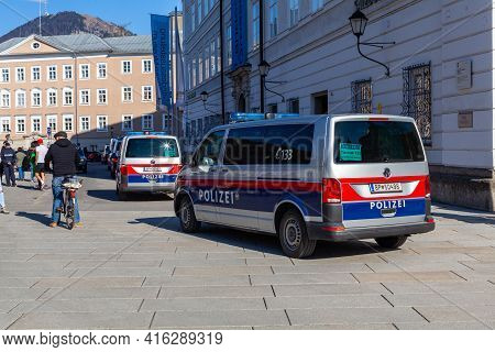 Salzburg - April 4, 2021: Demonstrations Against Government Measures
