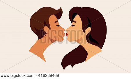 Close Up Side View Portrait Of Beautiful Woman With Long Hair Kissing With Her Boyfriend. Beautiful