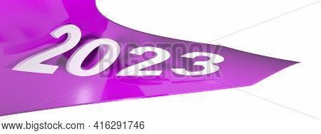 2023 Pink Arrow On White Background - 3d Rendering Illustration