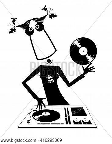 Cartoon Funny Dj Girl Illustration.  Bizarre Dj Girl Performing Music On The Control Panel Black On