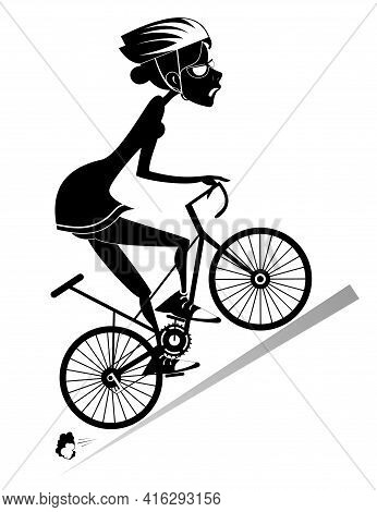 Tired Cyclist Woman Rides A Bike Isolated Illustration. Tired Cartoon Cyclist Woman In Helmet And Su
