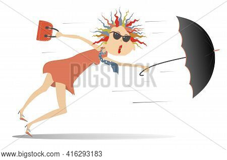 Windy Day And Young Woman With Umbrella Illustration.  Young Woman In Sunglasses With An Umbrella St