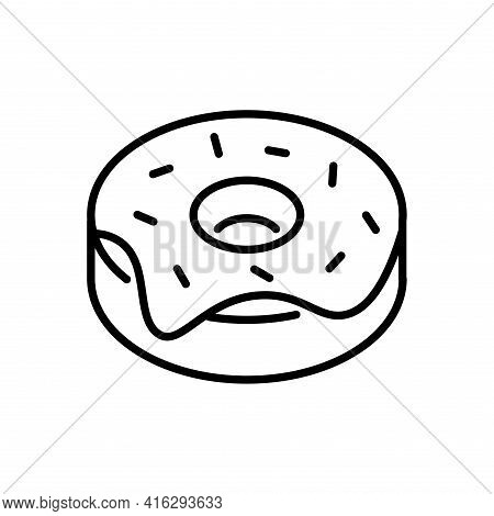 Donut Coated With Icing, Sprinkles Thin Line Icon Isolated On White. Glazed Dessert, Bagel, Flour Pr