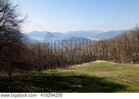 Beautiful View Over Lugano Region Seen From Capriasca Valley In Switzerland On A Early Spring Day