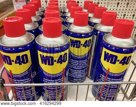 Manno, Switzerland - 3rd March 2021 : Wd-40 Lubricant Products Displayed On A Store In Switzerland.