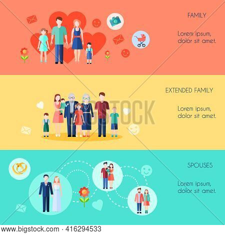 Flat Style Horizontal Banners Set Of Simple Family Extended Family And Spouses With Titles Vector Il