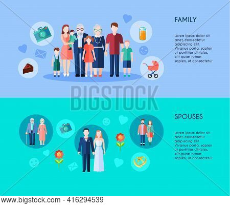 Two Horizontal Banners Of Extended Family With Different Generations Members And Various Age Spouses