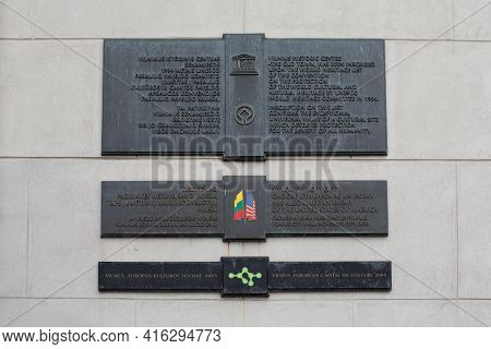 Vilnius, Lithuania - March 28, 2021: Memorial Plates On Vilnius Town Hall To Commemorate Some Recent