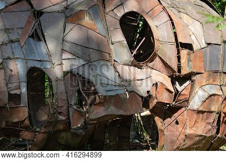 Vilnius, Lithuania - August 31, 2019: Sculpture Lying Head By Adomas Jacovskis In The Open Air Museu