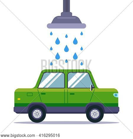Wash A Dirty Car In A Car Wash. Flat Vector Illustration Isolated On White Background.
