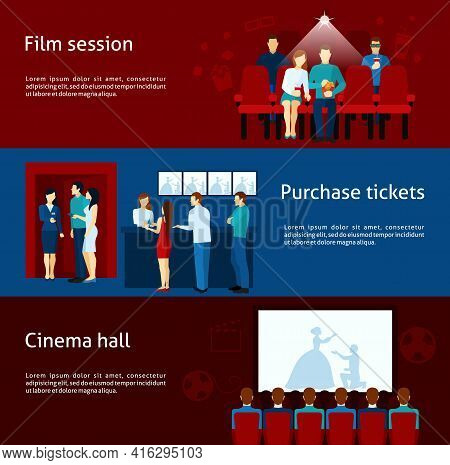 Cinematography  Banners With Purchase Ticket  Cinema Hall Film Session And  Audience Flat  Vector  I