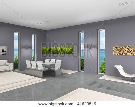 modern interior with aquarium