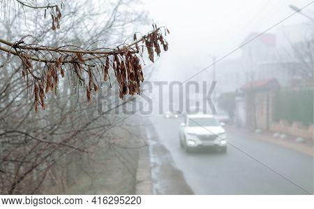 Car On A Road In Fog. Morning In Fog