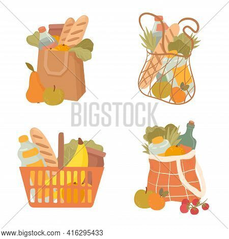 Shopping Hand Drawn Bag Flat Vector Illustrations Set. Grocery Purchase,  Package  With Products.  W