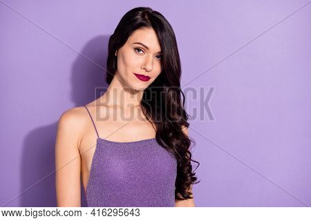 Photo Of Young Attractive Gorgeous Woman Happy Positive Smile Look Magnificent Isolated Over Purple