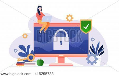 Data Protect. General Data Protection Regulation. Personal Data Protection. Flat Abstract Metaphor C
