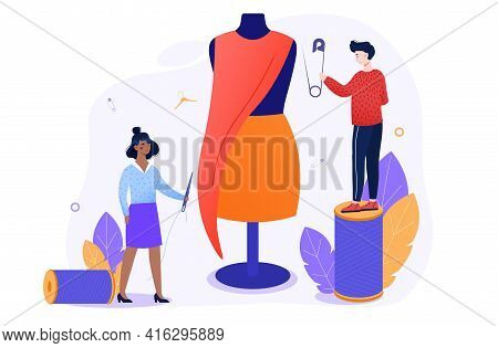 Young People Are Sewing. Fashion Designer, Needlewoman Or Seamstress At Work. Flat Abstract Metaphor