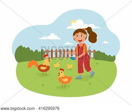 Girl Feeding Chicken In Contact Zoo. Summer Holidays At The Countryside. Village Landscape. Flat Car