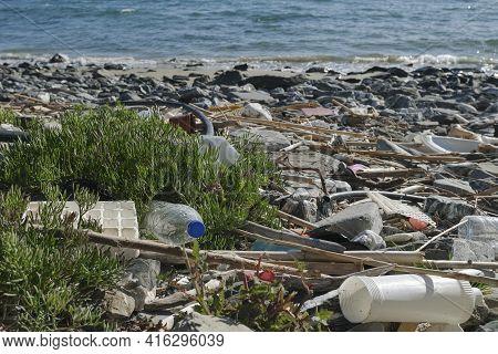 Marine Sea Ecosystem Contaminated With Plastic Debris Pollution, Environmental Waste