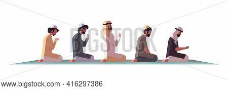 Religious Muslim Men Kneeling And Praying On Carpet Ramadan Kareem Holy Month Religion Concept Flat