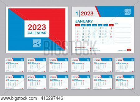 Calendar 2023 Template, Set Desk Calendar 2023 Design, Set Of 12 Months, Planner, Wall Calendar Desi