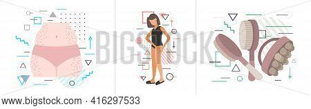 Set Cellulite Problem Zones Of Female Body Weight Loss Fat Diet Anti-cellulite Massage Concept Horiz