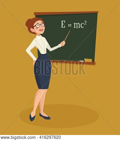 Teacher Formally Dressed Woman With Blackboard Chalk And Pointer Cartoon Vector Illustration
