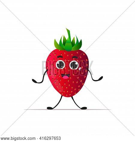 Cute Fresh Juicy Strawberry Character Tasty Ripe Fruit Personage Isolated On White Background Health