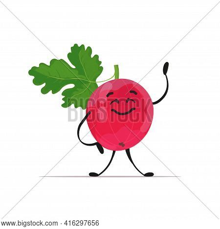 Cute Fresh Juicy Gooseberry Character Tasty Ripe Berry Fruit Mascot Personage Isolated On White Back