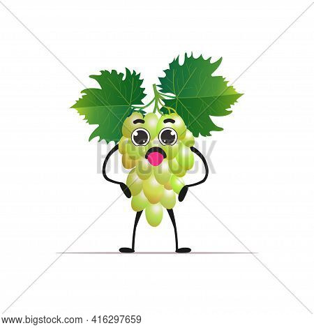 Cute Fresh Juicy Grape Character Tasty Ripe Berry Fruit Mascot Personage Isolated On White Backgroun