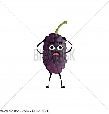 Cute Fresh Juicy Mulberry Character Holding Head Tasty Ripe Berry Fruit Mascot Personage Isolated On
