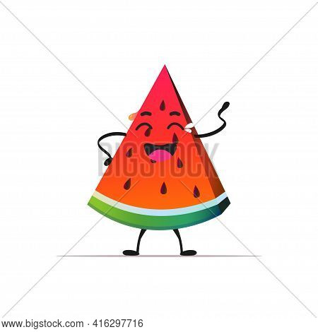 Fresh Juicy Watermelon Personage Crying Tasty Ripe Fruit Berry Mascot Character Isolated On White Ba