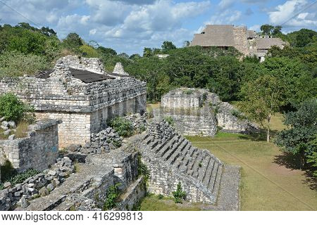 Mayan Archeological Site Of Ek Balam Surrounded By Jungle.  This Ancient Mayan Site Ek Balam Is Loca