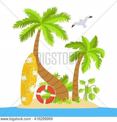 Tropical Beach Flat Cartoon Island, Surfboard. Palm Trees And Seagulls, Sea Sand, Ocean Lifebuoy, Mo
