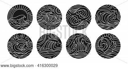 Sea Waves Doodle Round Pattern Black Glyph Set. Ocean Ornament Water Wave And Sun Hand Drawn Design