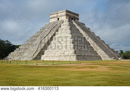 Temple Of Kukulkan, Pyramid In Chichen Itza, Yucatan, Mexico. The Temple Of Kukulkan Usually Referre