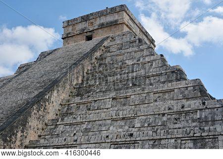 Temple Of Kukulkan, Pyramid In Chichen Itza, Yucatan, Mexico.  The Temple Of Kukulkan Usually Named