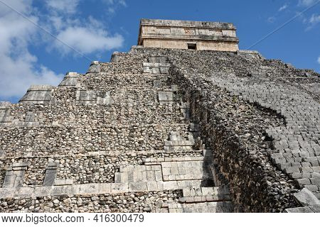 Temple Of Kukulkan, Pyramid In Chichen Itza, Yucatan, Mexico.  The Temple Of Kukulkan Usually Named