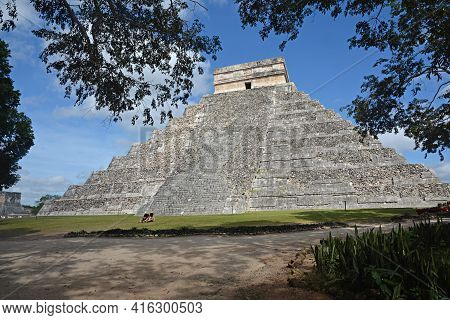 Temple Of Kukulkan, Pyramid In Chichen Itza, Yucatan, Mexico. The Temple Of Kukulkan Usually Named A