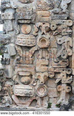 Details Of Mayan Puuc Architecture Style - Uxmal, Mexico. Puuc Architecture Is A Maya Architectural