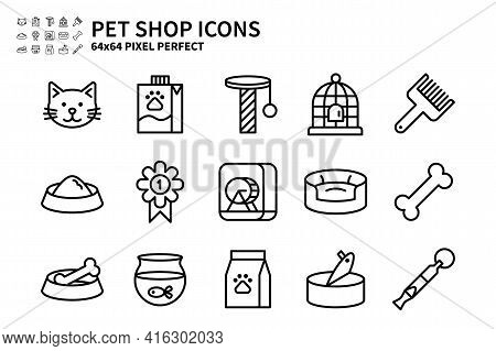 Simple Set Of Pet Shop Vector Line Icons. Contains Icons Like Cat Head, Pet Milk, Bird Cage, Pet Foo