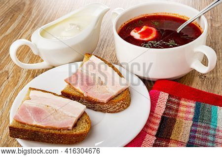 Sauce Boat With Sour Cream, Borscht With Sour Cream And Dill In White Bowl, Sandwiches With Brisket